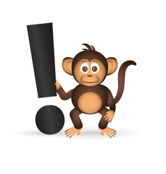 cute chimpanzee little monkey and exclamation mark vector image