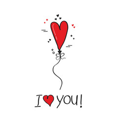 Cute i love you red single heart helium balloon vector