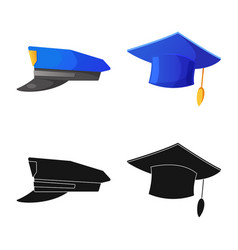 Design of headgear and cap icon set of vector