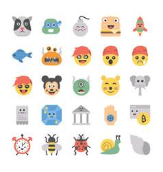 Emoticons icons bundle vector