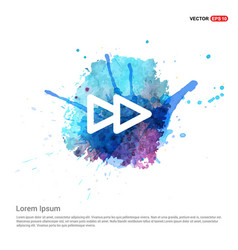 Fast forward icon - watercolor background vector