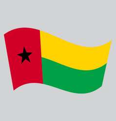 flag of guinea-bissau waving on gray background vector image