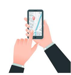Flat mobile navigation concept hands vector