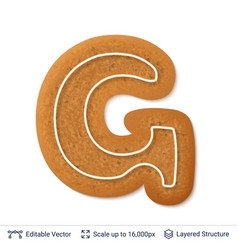 Gingerbread letter g isolated on white vector
