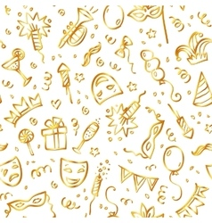 Golden carnival symbols in doodle style on white vector image