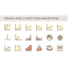 graph and chart icon set design 48x48 pixel vector image