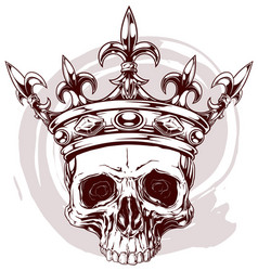 Graphic color human skull with king crown vector