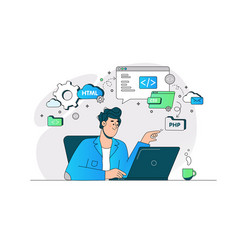 Guy busy with website page development vector