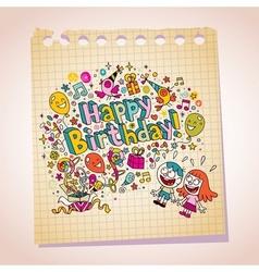 Happy Birthday kids note paper cartoon vector image