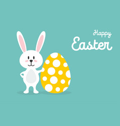 happy easter easter rabbit with easter egg easter vector image