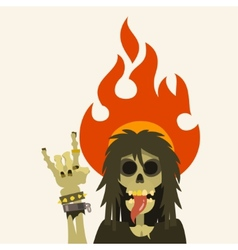 Heavy metal skeleton character with long hair vector