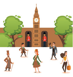 History and fashion england people in retro vector