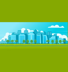 horizontal banner poster citylandscape with green vector image