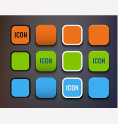 icon template set different backgrounds and vector image