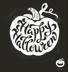Isolated pumpkin Happy Halloween brush lettering vector