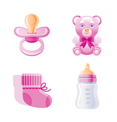 it s a girl newborn icon set 3d cartoon baby born vector image