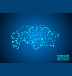 Kazakhstan map with nodes linked by lines concept vector