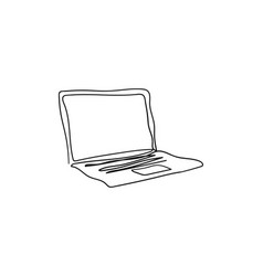laptop with one continuous single line art vector image
