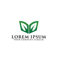 Leaf green book logo education logo design vector