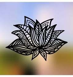 Lotus on the gradient mesh background vector