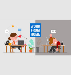 mental health when working from home man and vector image