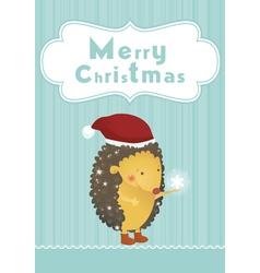 Merry Christmas hedgehog background vector
