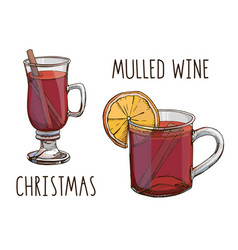 Mulled wine set colorful images and vector