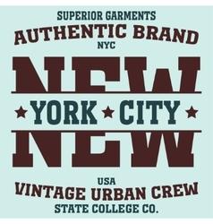 new york sport t-shirt vector image