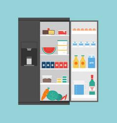 opened modern refrigerator full food vector image