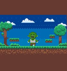 Pixel game geek monster adventure map vector
