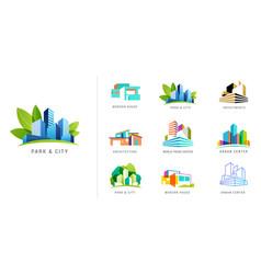 real estate logo building development set of vector image