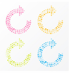 refresh symbol composed of colorful dots vector image