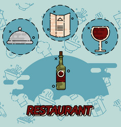 Restaurant flat concept icons vector