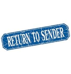 Return to sender blue square vintage grunge vector