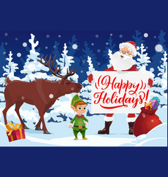santa with christmas card xmas gift deer and elf vector image