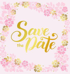 save the date in golden on pink square background vector image