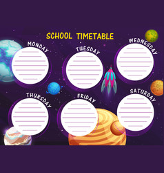 school timetable with cartoon space planets frame vector image