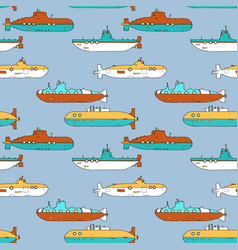 Seamless pattern with cartoon submarines vector