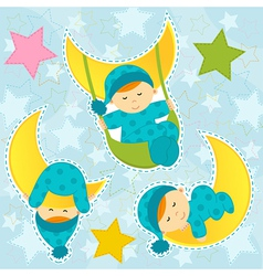 set icon baby boy sleeping vector image
