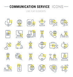 Set line icons communication service vector