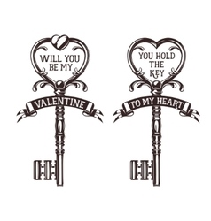 Set of heart shaped keys with quotes related to vector image