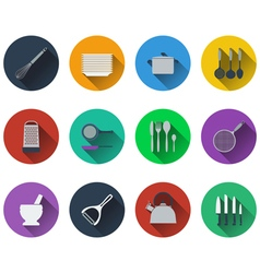 Set of kitchen utensil icons in flat design vector image
