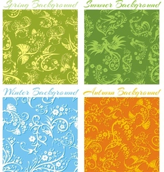 Set of Seasons backgrounds - 3D seamless pattern vector