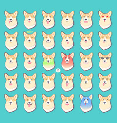 set of stickers with emotions of dog vector image