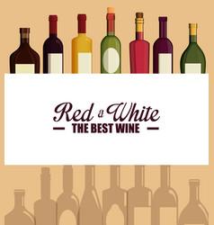Set red wine bottles vector