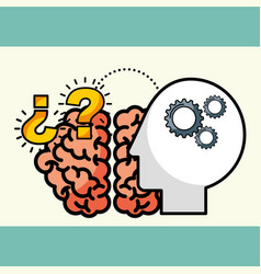 silhouette man brain creative idea questions vector image
