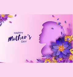 silhouette of a mother in paper cut style happy vector image