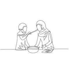 Single one line drawing arabian mother tasting vector