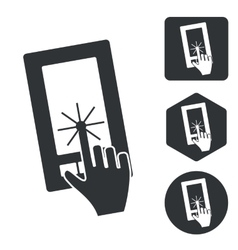 Smartphone touchscreen icon set monochrome vector