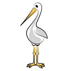 standing stork on white background vector image